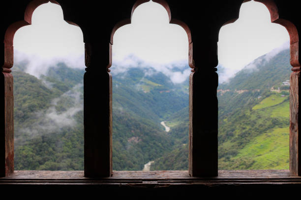Blurry background view from Trongsa Dzong windows. stock photo