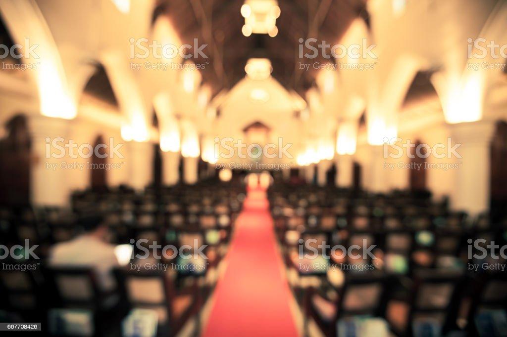 vintage de fundo desfocado da Igreja interior - foto de acervo