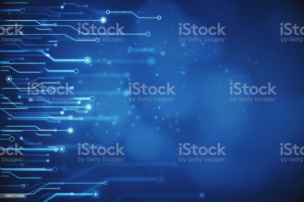 Blurry blue circuit wallpaper royalty-free stock photo