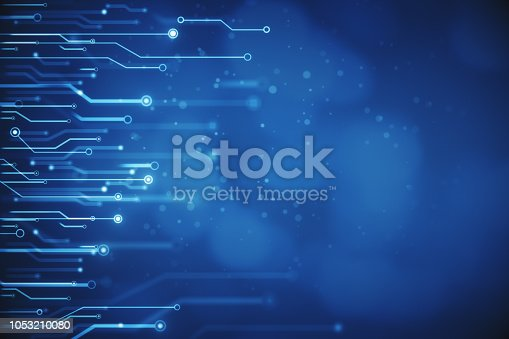 Creative blurry blue circuit wallpaper. Technology and computing concept. 3D Rendering