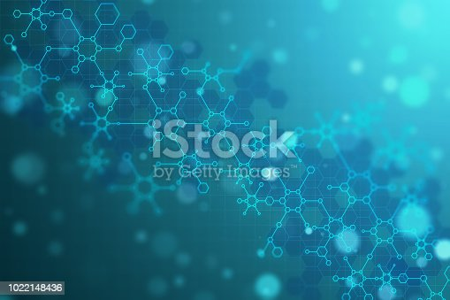 Creative blurry blue chemical background. Medicine and science concept. 3D Rendering