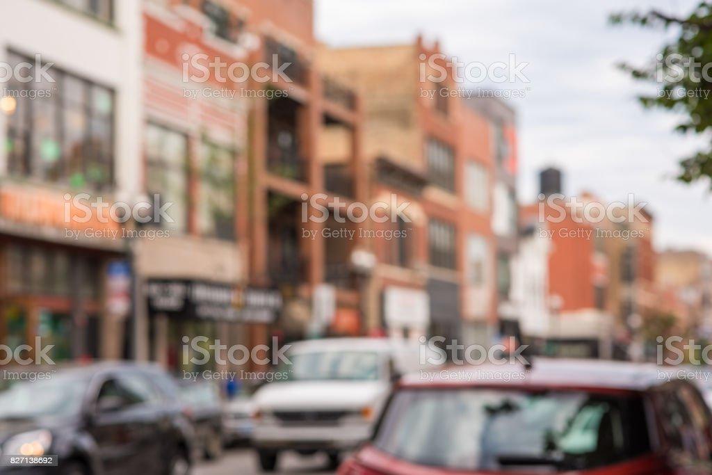 Blurry Chicago street scene: Wicker Park neighborhood stock photo