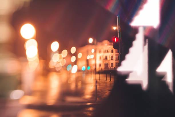 blurry city lights of Budapest at night stock photo