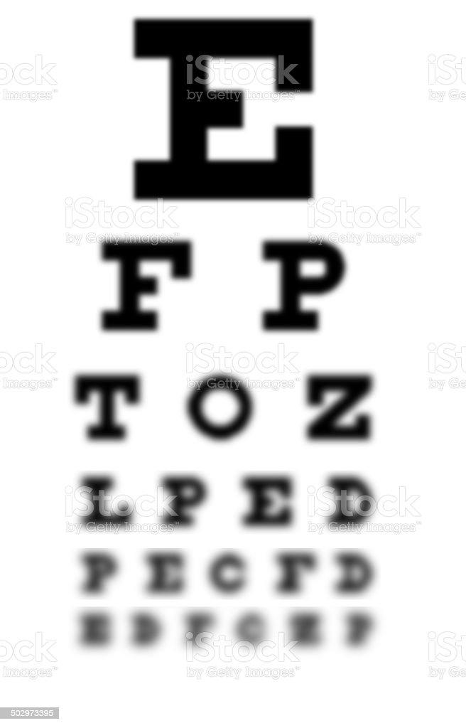 Blurry eye chart stock photo
