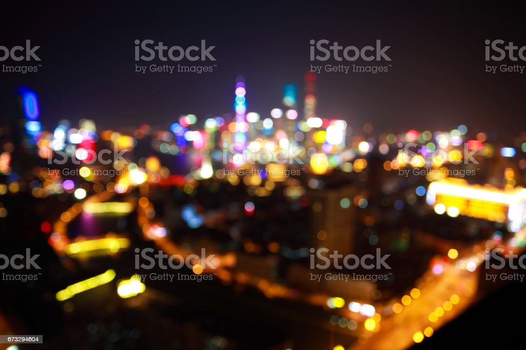 Blurry focus backgrounds at Shanghai Skyline of night scene royalty-free stock photo