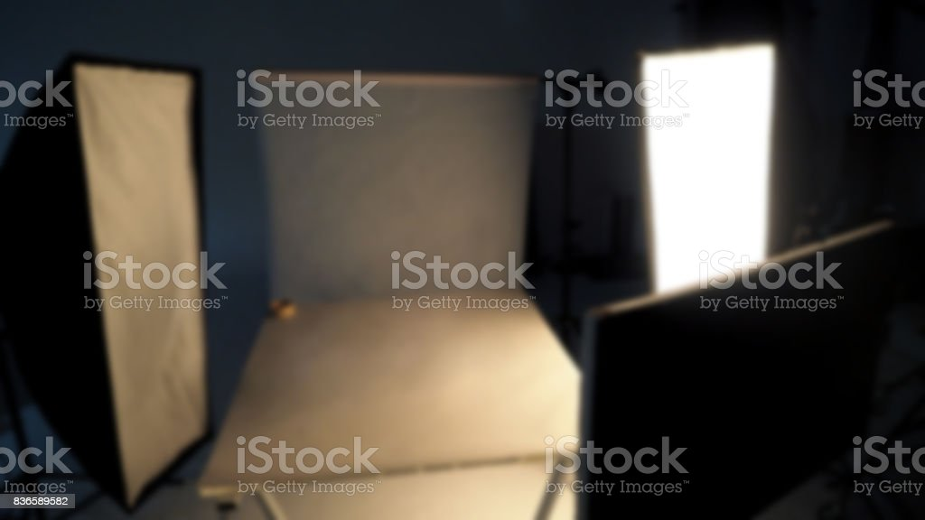 Blurry image behind the scenes of shooting video production stock photo