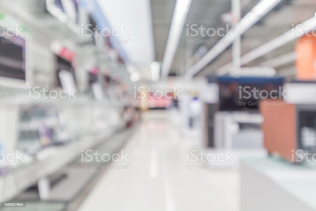 blurry image of Electrical appliance stores stock photo
