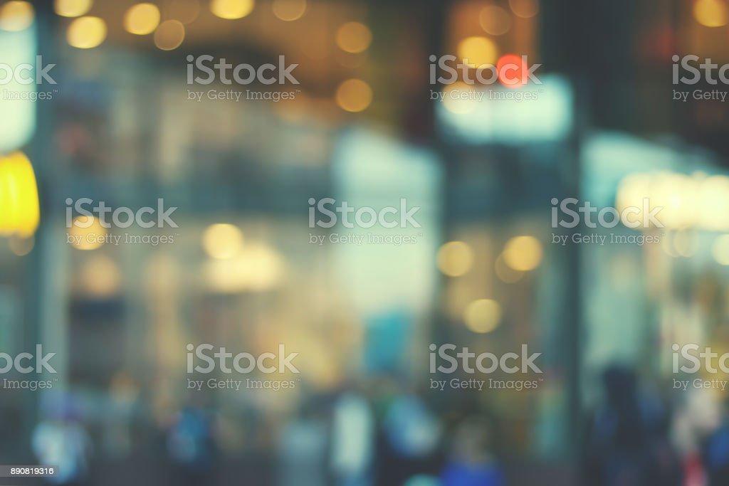 Blurry mall showcase. stock photo