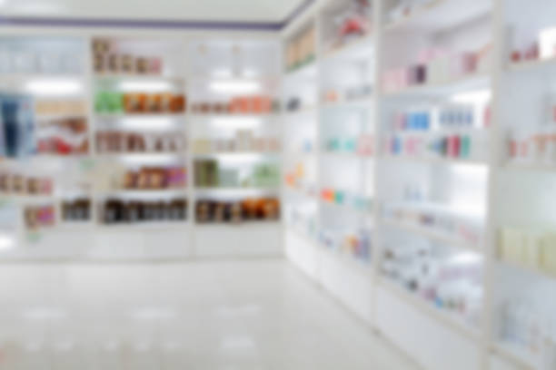 blurry medicine cabinet and store medicine and pharmacy drugstor stock photo