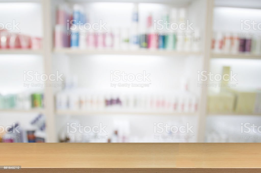 Blurry Medicine Cabinet And Store Medicine And Pharmacy Drugstore For  Background Royalty Free Stock Photo