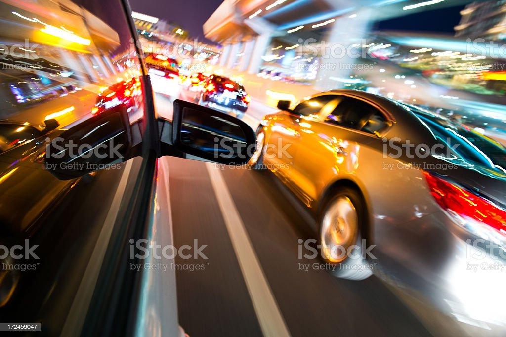 Blurry night rush hour traffic royalty-free stock photo