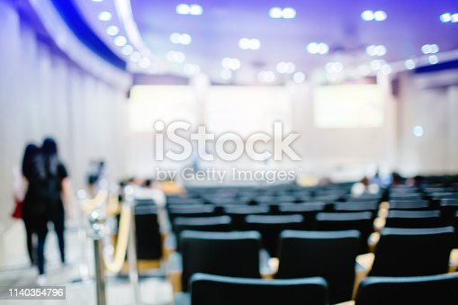 istock Blurry of auditorium for shareholders' meeting or seminar event 1140354796