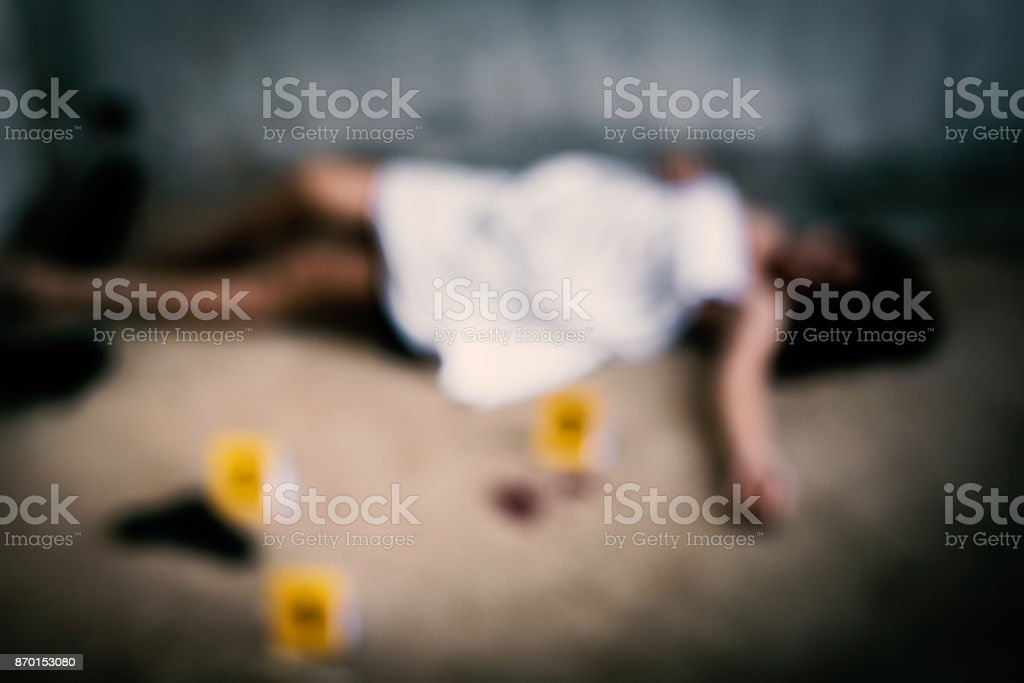Blurry of Woman corpse stock photo
