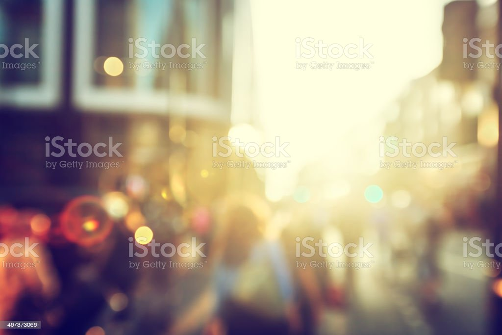 Blurry people walking in London street stock photo