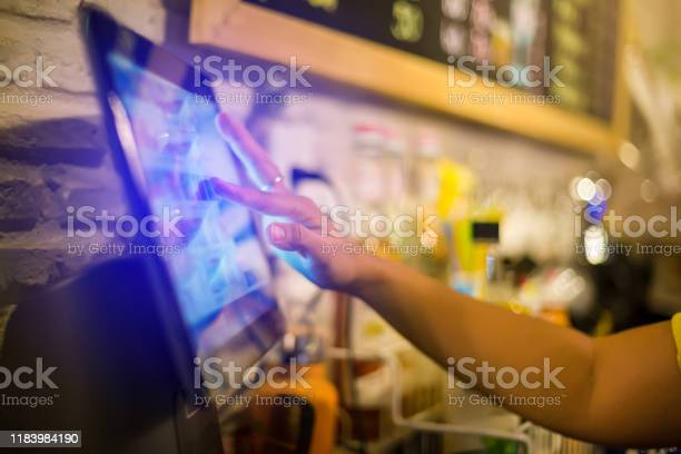 Blurry picture of cashier is making order on touch screen of computer picture id1183984190?b=1&k=6&m=1183984190&s=612x612&h=jrgafzlyn53usua7rehu8ycyn7l6kgcraxpw8sowwmq=