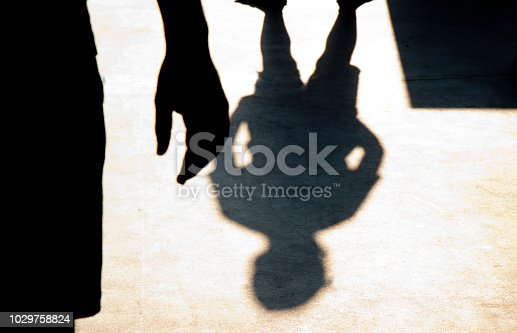 istock Blurry shadow silhouette of two boys confronting each other 1029758824