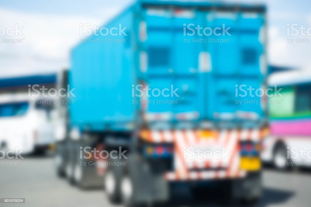 Blurry truck container waiting for gas up stock photo