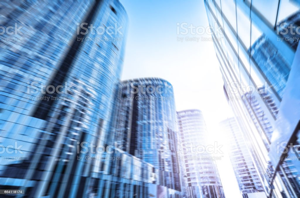 blurry view of modern buildings in Beijing stock photo