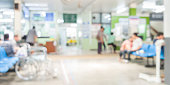Blurry wheelchair with Individuals use the hospital service.Wait patient history, talking to doctor