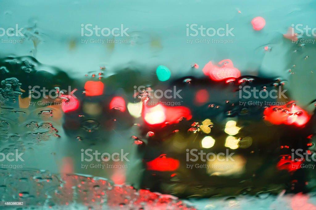 Blurry windshield in rain stock photo