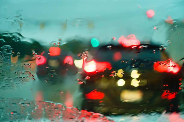 Blurry windshield in rain