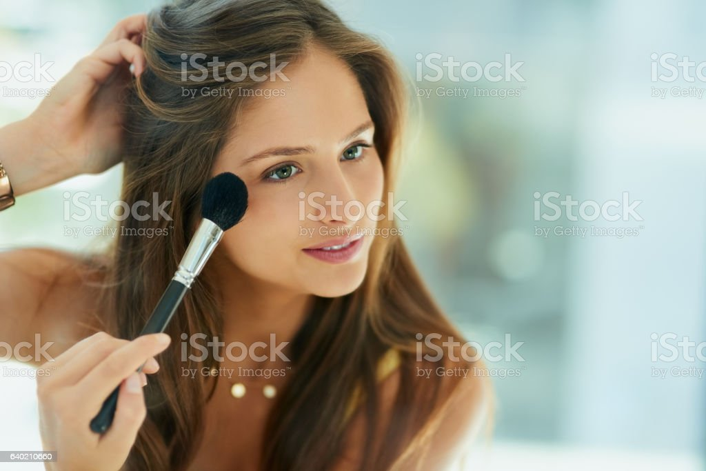 Blush brings out the best in her cheekbones stock photo