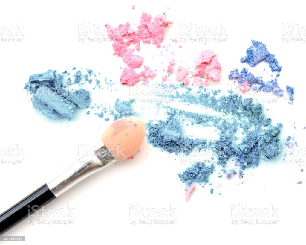 Blush make up and crushed color eye shadow stock photo