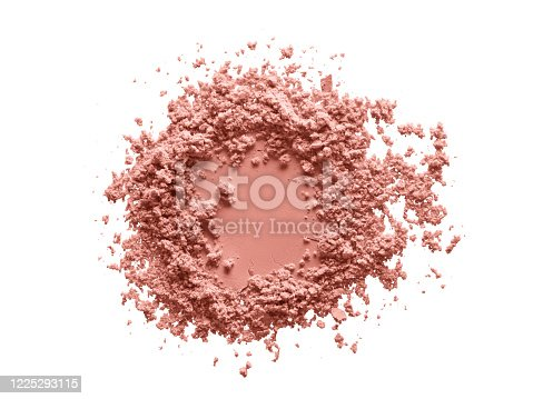 Blush makeup powder circle swatch. Face powder texture. Pink color beauty product sample isolated on white background. Beauty product macrophotography