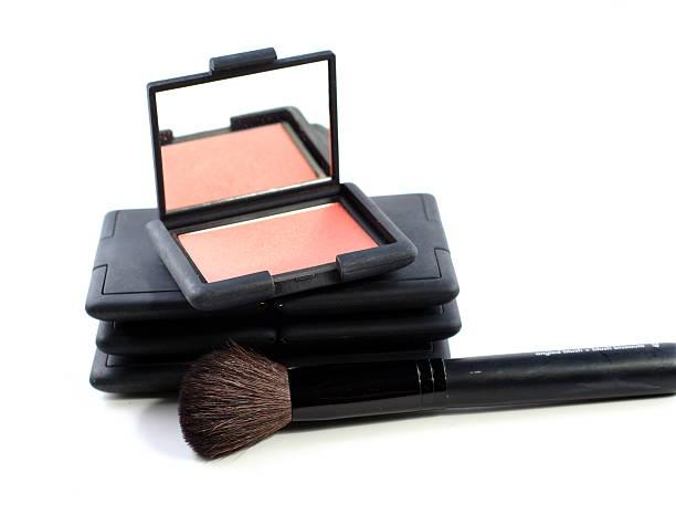 blush makeup with brush stock photo