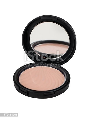 Blush with compact mirror on white background