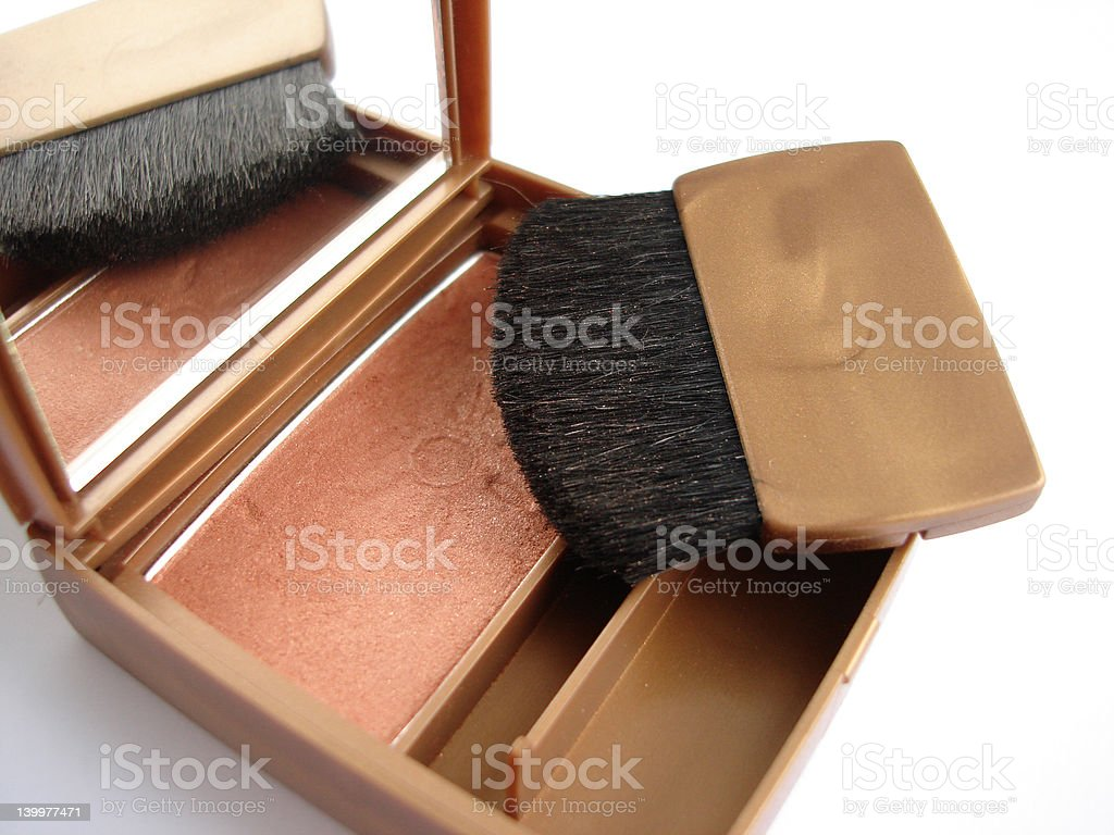 Blusher and brush over white background royalty-free stock photo