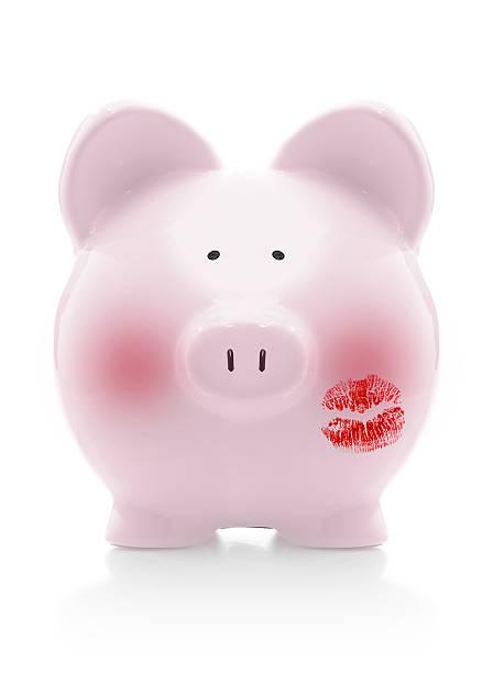 imbarazzato piggybank - kids kiss embarrassed foto e immagini stock