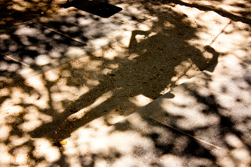 Bluury shadows of a person on a swing