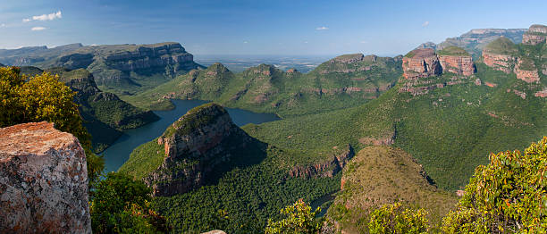 Blyde river canyon and the three rondavels stock photo