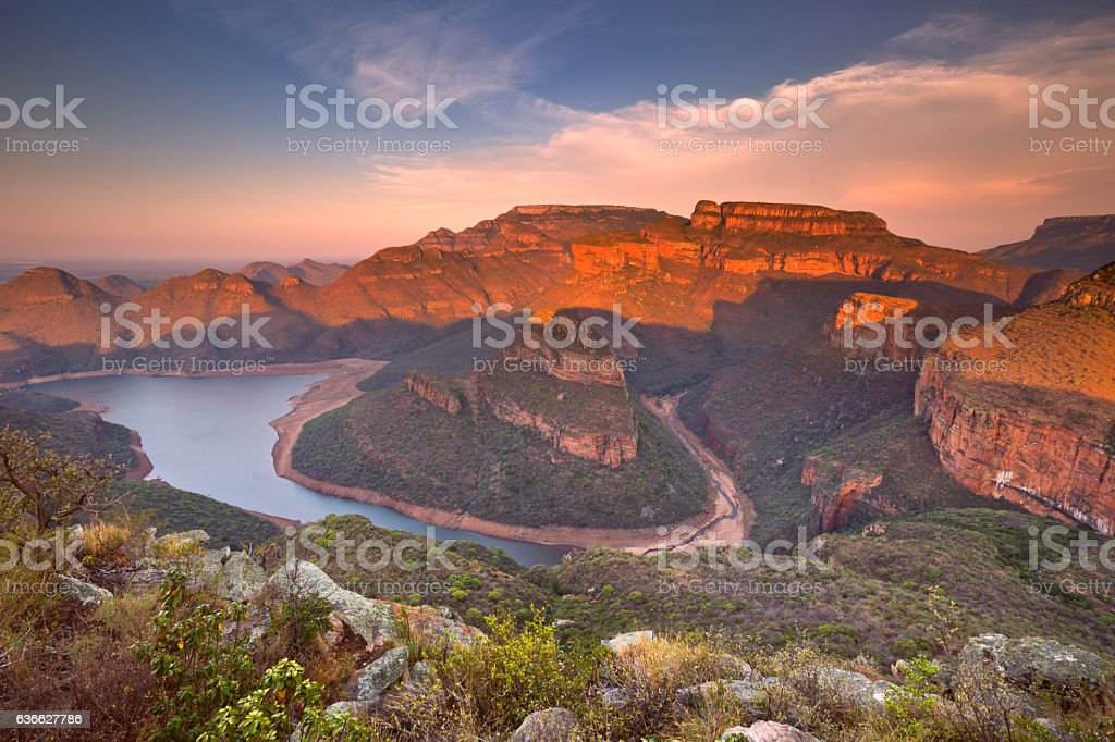 Blyde River Canyon in South Africa at sunset stock photo