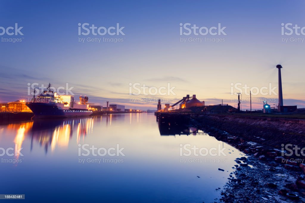 Blyth Harbour at dusk stock photo