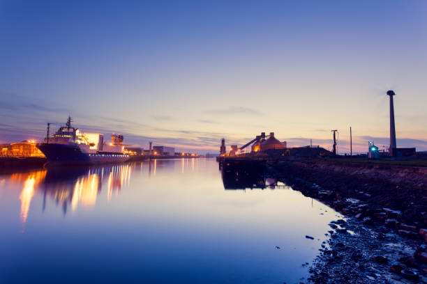 Blyth Harbour at dusk stock photo