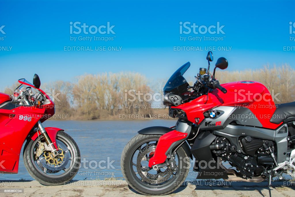 Bmw K1300R and Ducati 996 sport motorcycles stock photo