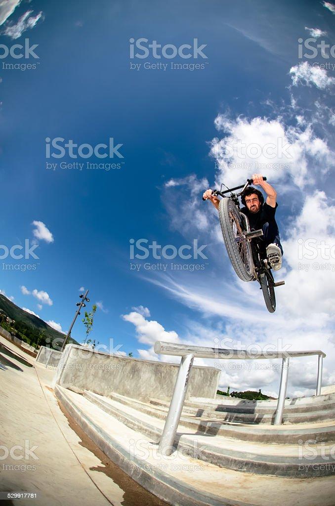 Bmx big air jump stock photo