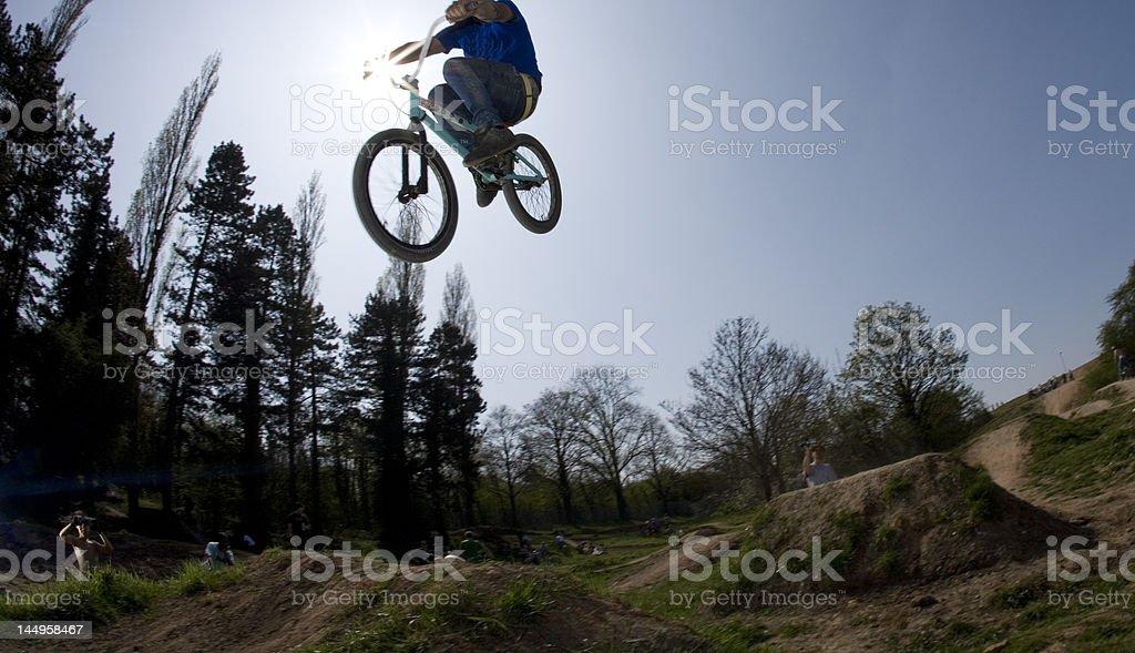 bmx dirt jumping stock photo