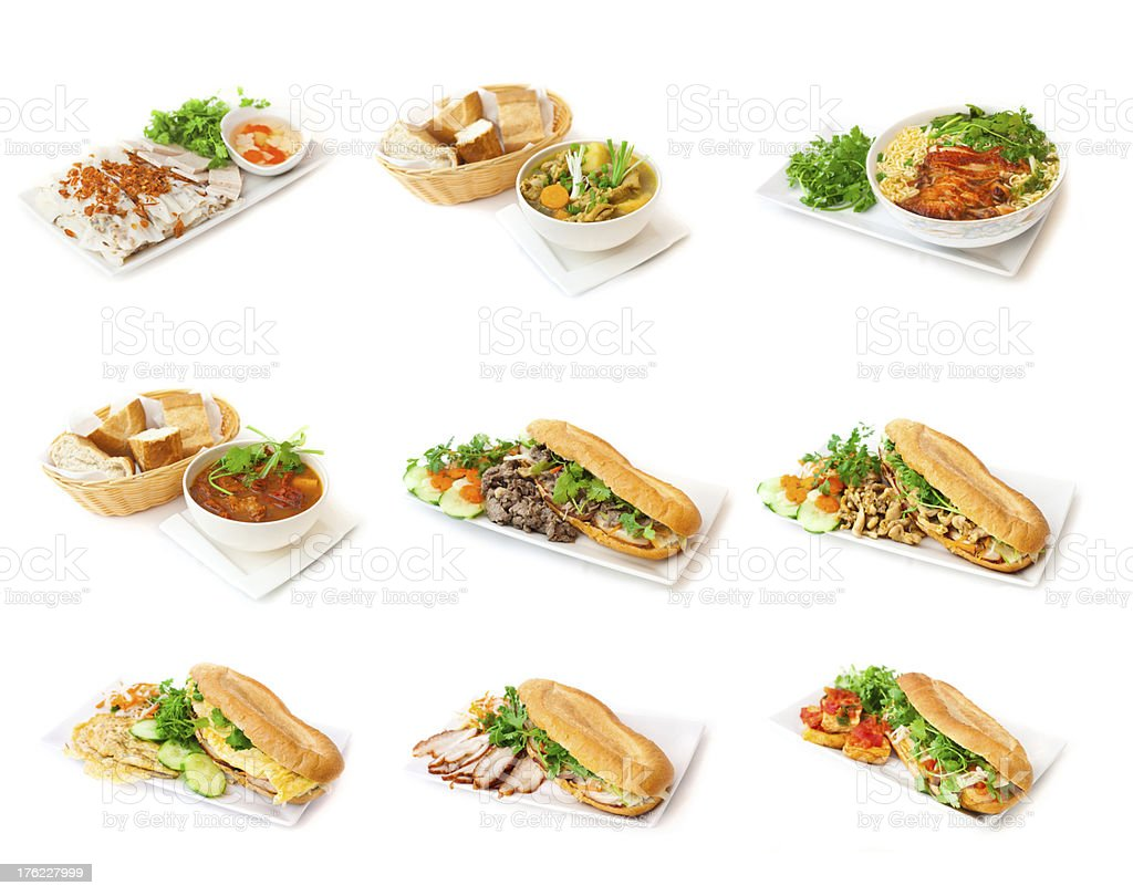 Bánh mì vietnamese sandwiches and soup stock photo