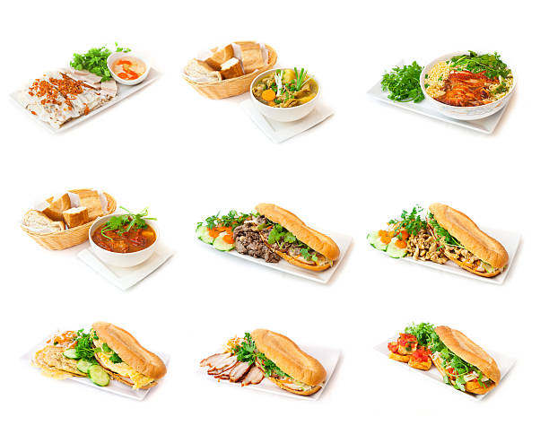 Bánh mì vietnamese sandwiches and soup Vietnamese dishes on the white background. On white plates you can see sandwiches called Bánh mì with meat, egg, coriander, carrot, cucumber and fresh baguette and special Chinese soups with pepper tomatoes and grilled chicken. All given with  green vegetables, like chives and parsley. bánh mì sandwich stock pictures, royalty-free photos & images