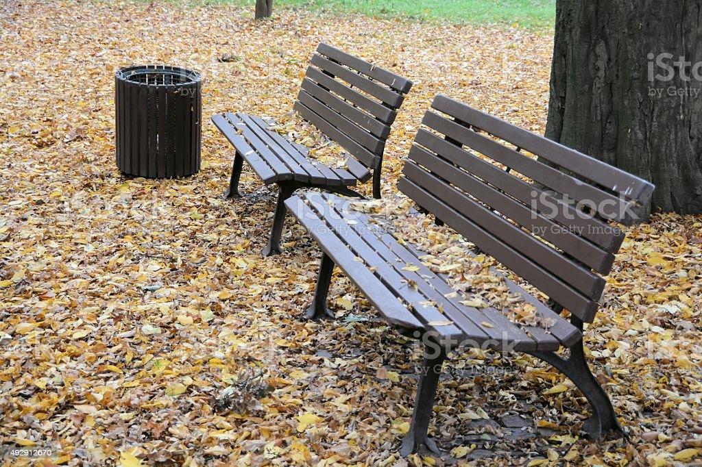 Bänke im Park stock photo