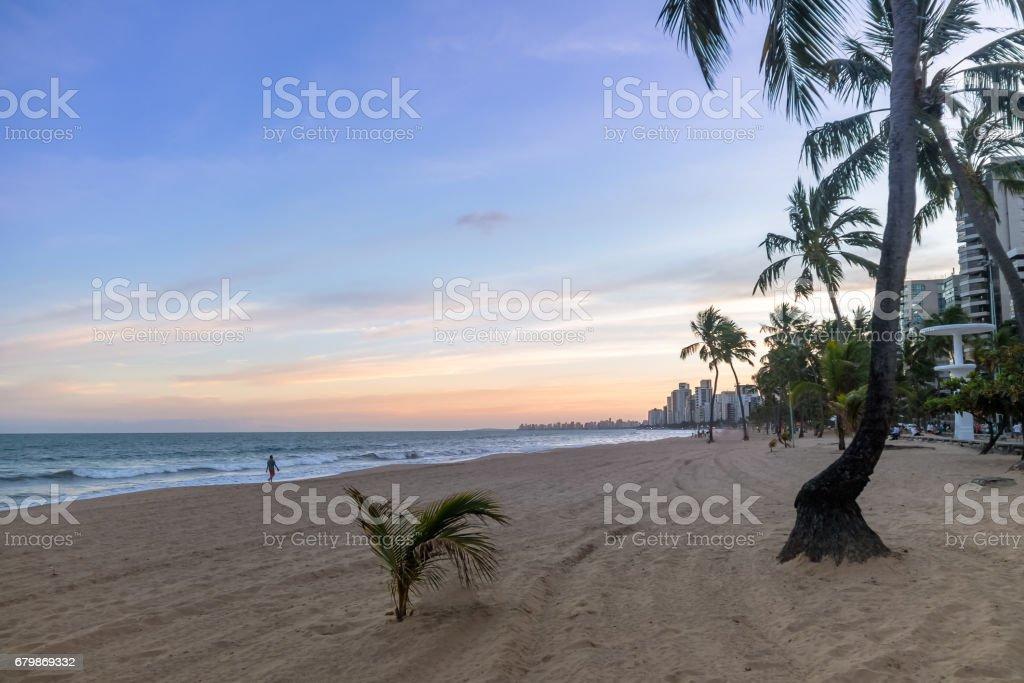 Boa viagem Beach and city skyline at sunset - Recife, Pernambuco, Brazil stock photo