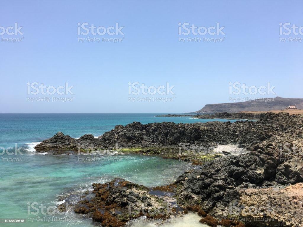 Boa Vista, Cape Verde. Rocks and Church in the Background - foto stock