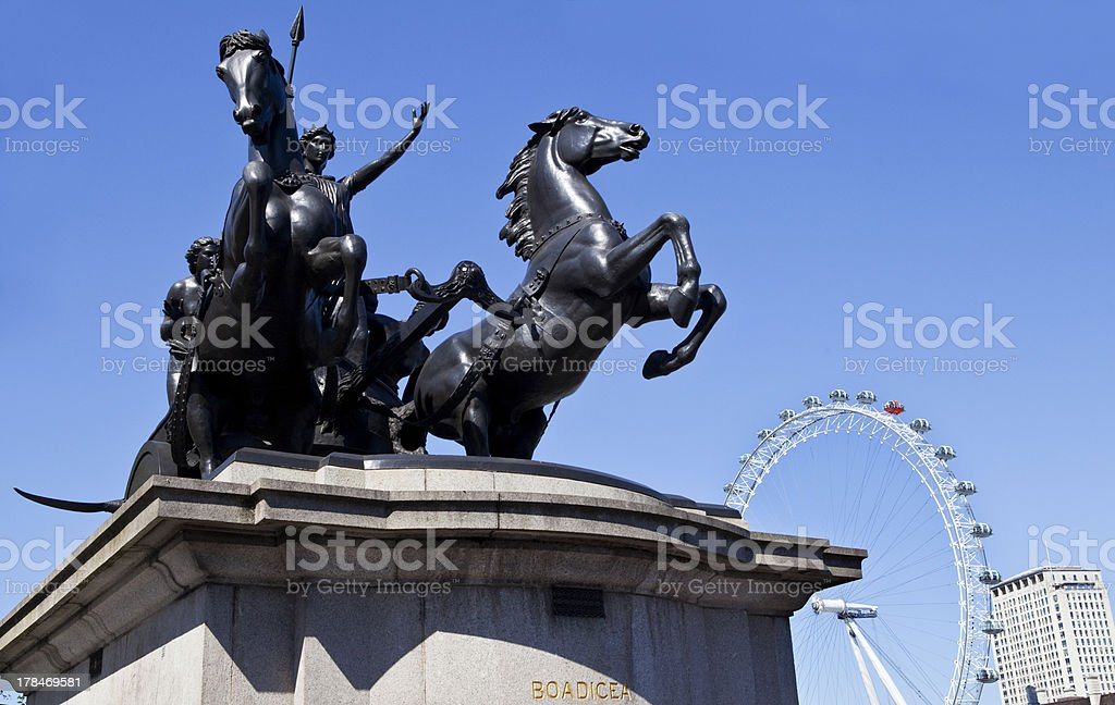 Boadicea Statue and London Eye stock photo