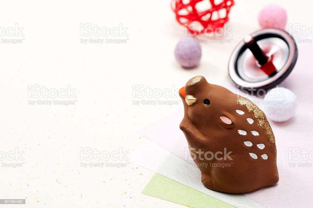 Boar zodiac figurine and New Year accessories stock photo