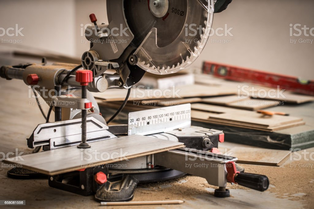 Board and miter saw royalty-free stock photo