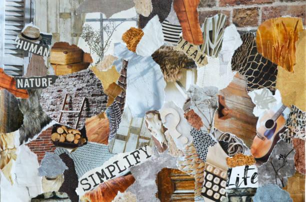 colagem de bordo na natureza verão estilo feito de rasgado resultados de papel na arte de reciclagem de resíduos - mood board - fotografias e filmes do acervo