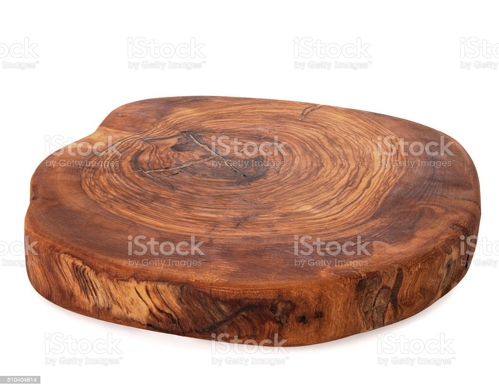 Board from old olive tree isolated stock photo
